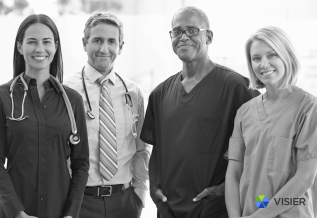 Diverse group of healthcare workers for a Visier article on nurse turnover