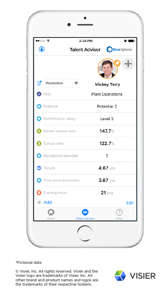 Visier Workforce Analytics iPhone application showing Talent Advisor feature