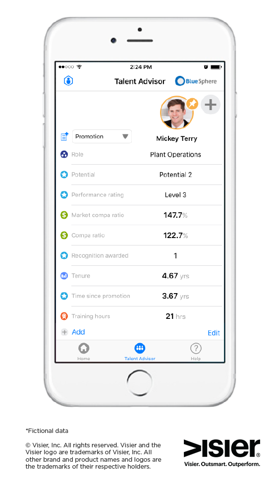Mobile version of Visier's Talent Advisor feature