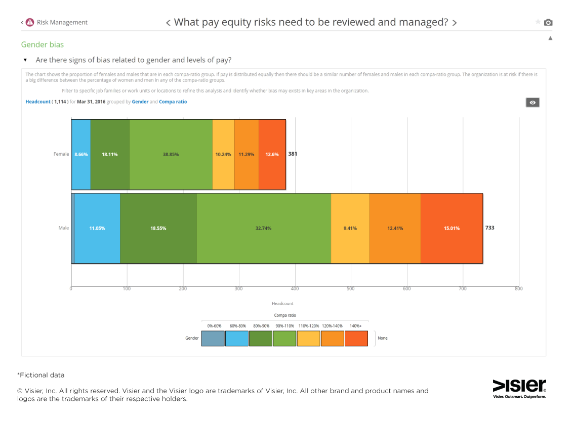 Data visualization showing what pay equity risks needs to be reviewed and managed