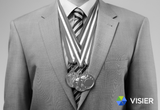 "Image of an HR executive with medals in the Visier article ""Should HR Let Employees Watch the Summer Olympics at Work?"""