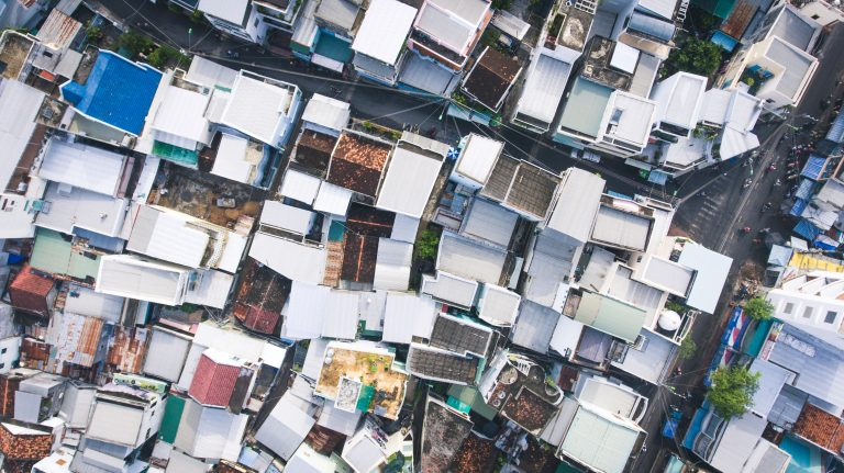 Aerial shot of rows of houses in a haphazard pattern