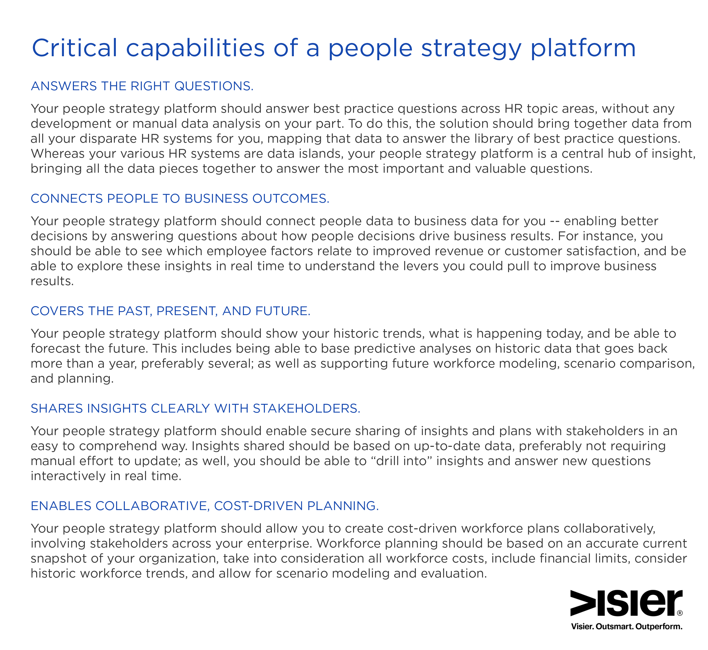 Graphic showing 5 critical capabilities of a people strategy platform
