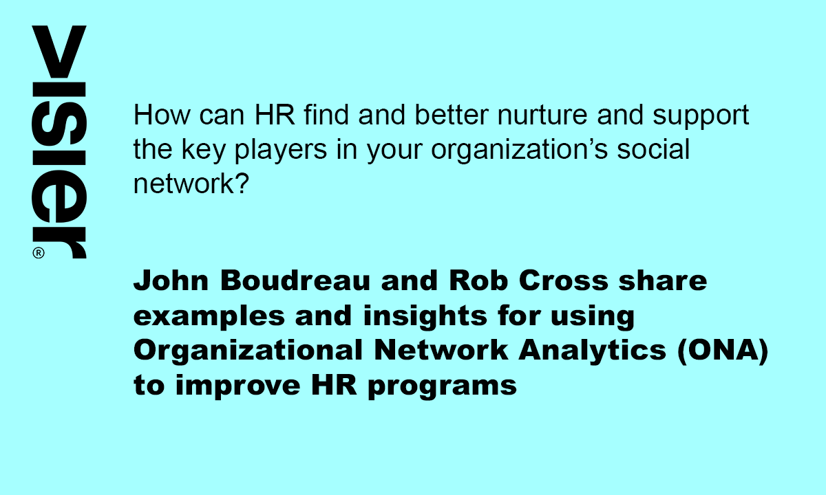 "A bright blue rectangle that poses the question ""How can HR find and better nurture and support the key players in your organization's social network?"" The next paragraph says in bold text ""John Boudreau and Rob Cross share examples and insights for using Organizational Network Analysis (ONA) to improve HR programs"