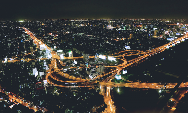 A network of roads and lights in a city at night as a metaphor for organizational network analysis and the gig economy