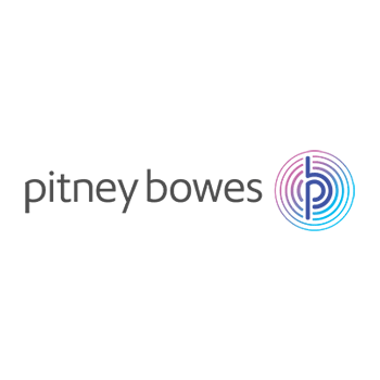 Pitney Bowes logo with magnifying glass, video, quote icons