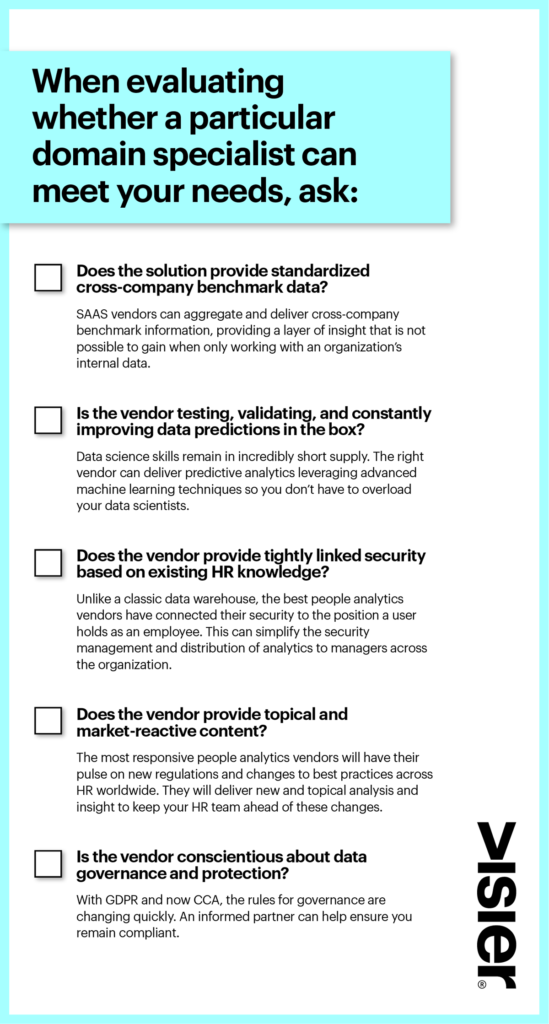 Checklist for evaluating whether a particular HR domain specialist can meet you technology needs