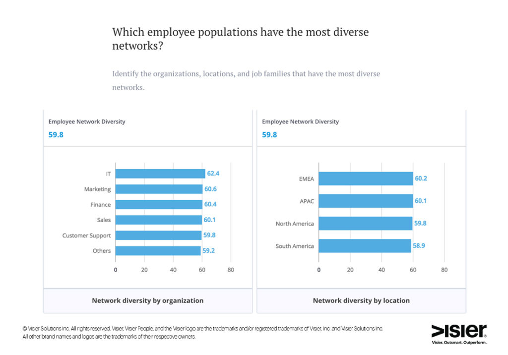 Data visualizations that show what employee network diversity look like by organization and by location in order to determine which populations have the most diverse networks