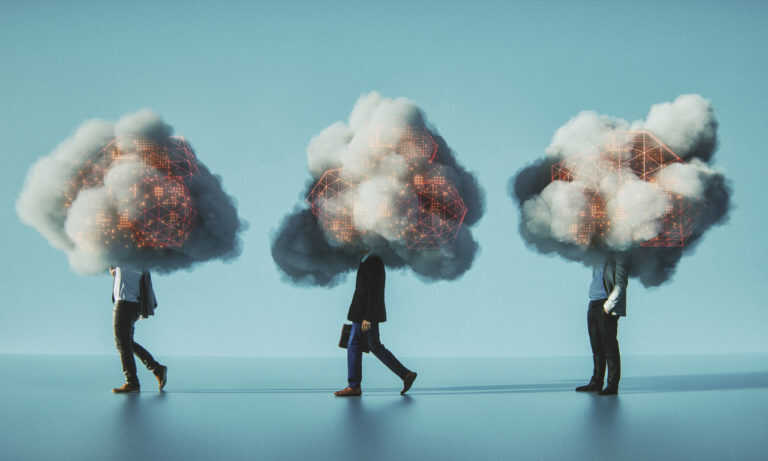 Three people with clouds on their heads as a metaphor for analytics leaders learning from the BI community's mistakes