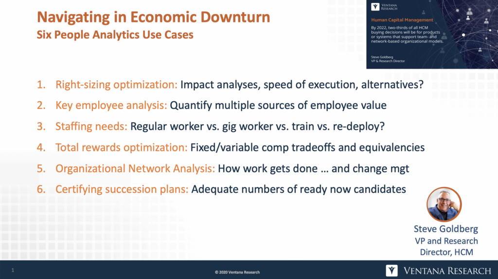 List of six people analytics use cases when navigating in an economic downturn from Steve Goldberg of Ventana Research