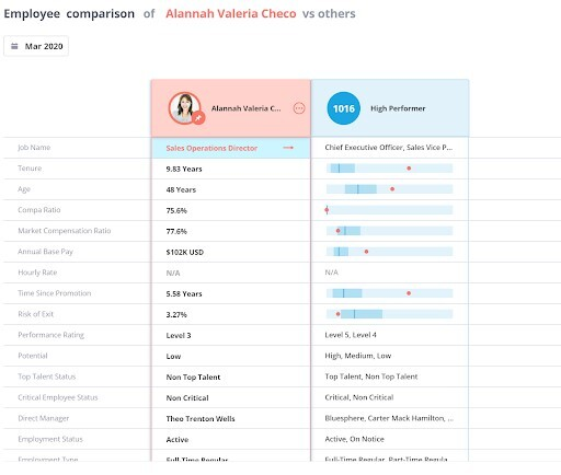 This analyses shows a comparison of two employees based on different characteristics.