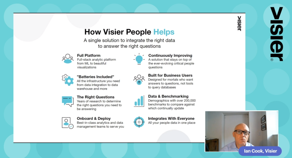 Screenshot from Visier demo session showing some benefits of Visier People